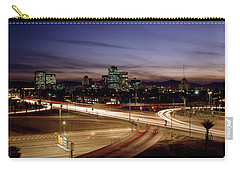 Buildings In A City Lit Up At Dusk, 7th Carry-all Pouch by Panoramic Images