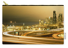 Buildings Lit Up At Night, Seattle Carry-all Pouch by Panoramic Images