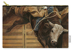 Bull Riding 1 Carry-all Pouch by Don  Langeneckert