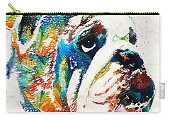 Bulldog Pop Art - How Bout A Kiss - By Sharon Cummings Carry-all Pouch by Sharon Cummings