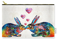 Bunny Rabbit Art - Hopped Up On Love - By Sharon Cummings Carry-all Pouch by Sharon Cummings