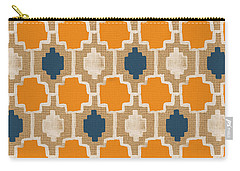 Burlap Blue And Orange Design Carry-all Pouch by Linda Woods
