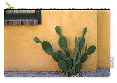 Cactus And Yellow Wall Carry-all Pouch by Carol Leigh