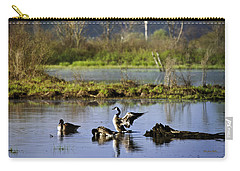 Canada Goose Dancing On Lake Carry-all Pouch by Christina Rollo