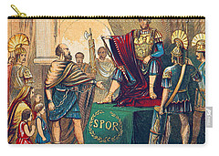 Carry-all Pouch featuring the photograph Caractacus Before Emperor Claudius, 1st by British Library