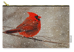 Cardinal In Snow Carry-all Pouch by Lois Bryan