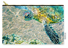 Beautiful Sea Turtle Carry-all Pouch by Jon Neidert