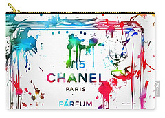 Chanel Number Five Paint Splatter Carry-all Pouch by Dan Sproul