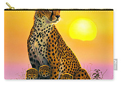 Cheetah And Cubs Carry-all Pouch by MGL Studio - Chris Hiett