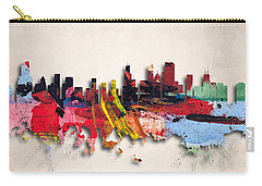 Chicago Painted City Skyline Carry-all Pouch by World Art Prints And Designs