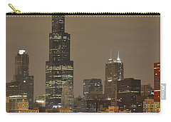 Chicago Skyline At Night Carry-all Pouch by Sebastian Musial