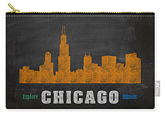 Chicago Skyline Chalkboard Chalk Art Carry-all Pouch by Design Turnpike