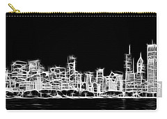 Chicago Skyline Fractal Black And White Carry-all Pouch by Adam Romanowicz