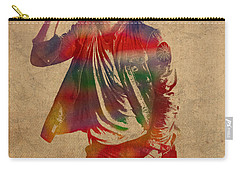 Chris Martin Coldplay Watercolor Portrait On Worn Distressed Canvas Carry-all Pouch by Design Turnpike