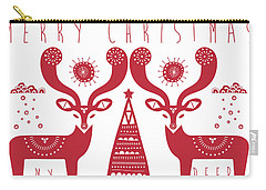 Christmas Deers Carry-all Pouch by Susan Claire