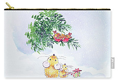 Christmas Mice And Robins Carry-all Pouch by Diane Matthes