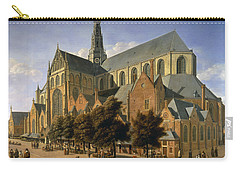 Church Of St. Bavo In Haarlem, 1666 Oil On Panel Carry-all Pouch by Gerrit Adriaensz Berckheyde