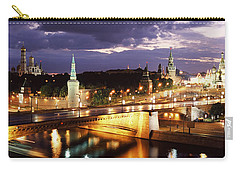 City Lit Up At Night, Red Square Carry-all Pouch by Panoramic Images