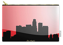 Cityscapes- Los Angeles Skyline In Black On Red Carry-all Pouch by Serge Averbukh