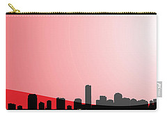 Cityscapes - Miami Skyline In Black On Red Carry-all Pouch by Serge Averbukh