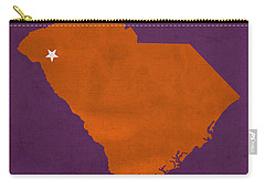 Clemson University Tigers College Town South Carolina State Map Poster Series No 030 Carry-all Pouch by Design Turnpike