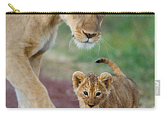 Close-up Of A Lioness And Her Cub Carry-all Pouch by Panoramic Images