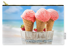 Close Up Strawberry Ice Creams Carry-all Pouch by Amanda Elwell