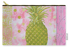 Coastal Decorative Pink Green Floral Greek Pattern Fruit Art Fresh Pineapple By Madart Carry-all Pouch by Megan Duncanson