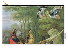 Cock Pheasant Hen Pheasant And Chicks And Other Birds In A Classical Landscape Carry-all Pouch by Pieter Casteels