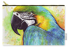 Macaw Watercolor Carry-all Pouch by Olga Shvartsur