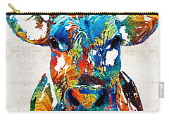 Colorful Cow Art - Mootown - By Sharon Cummings Carry-all Pouch by Sharon Cummings