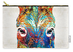Colorful Donkey Art - Mr. Personality - By Sharon Cummings Carry-all Pouch by Sharon Cummings