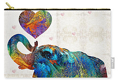Colorful Elephant Art - Elovephant - By Sharon Cummings Carry-all Pouch by Sharon Cummings
