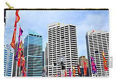 Colorful Flags Lead To City By Kaye Menner Carry-all Pouch by Kaye Menner