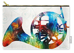Colorful French Horn - Color Fusion By Sharon Cummings Carry-all Pouch by Sharon Cummings