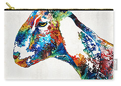 Colorful Goat Art By Sharon Cummings Carry-all Pouch by Sharon Cummings