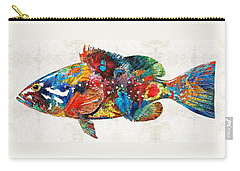 Colorful Grouper Art Fish By Sharon Cummings Carry-all Pouch by Sharon Cummings