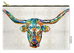 Colorful Longhorn Art By Sharon Cummings Carry-all Pouch by Sharon Cummings