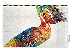 Colorful Pelican Art 2 By Sharon Cummings Carry-all Pouch by Sharon Cummings