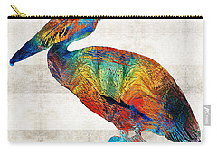 Colorful Pelican Art By Sharon Cummings Carry-all Pouch by Sharon Cummings