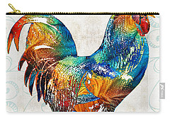 Colorful Rooster Art By Sharon Cummings Carry-all Pouch by Sharon Cummings