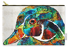 Colorful Wood Duck Art By Sharon Cummings Carry-all Pouch by Sharon Cummings