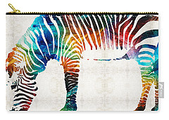 Colorful Zebra Art By Sharon Cummings Carry-all Pouch by Sharon Cummings