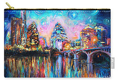 Contemporary Downtown Austin Art Painting Night Skyline Cityscape Painting Texas Carry-all Pouch by Svetlana Novikova