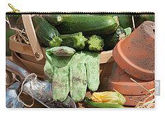 Courgette Basket With Garden Tools Carry-all Pouch by Amanda Elwell