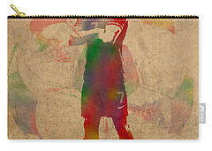 Cristiano Ronaldo Soccer Football Player Portugal Real Madrid Watercolor Painting On Worn Canvas Carry-all Pouch by Design Turnpike
