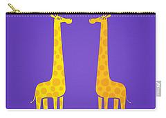 Cute Cartoon Giraffe Couple In Love Purple Edition Carry-all Pouch by Philipp Rietz