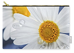 Daisy Flowers With Water Drops Carry-all Pouch by Elena Elisseeva