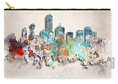 Dallas Painted City Skyline Carry-all Pouch by World Art Prints And Designs