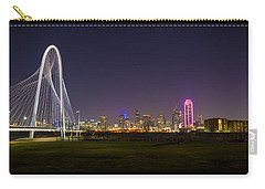 Dallas Skyline And Margaret Hunt Hill Bridge Carry-all Pouch by David Morefield